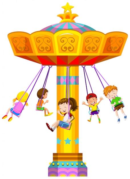 Crianças, balançando, em, círculo Vetor grátis