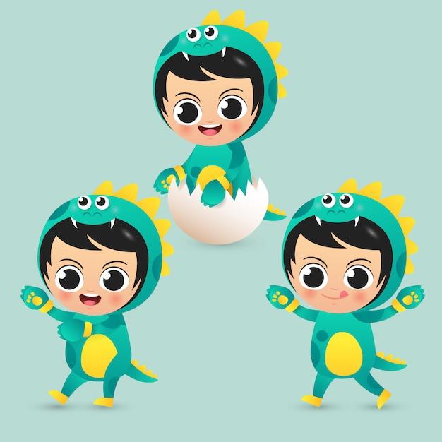 Crianças bonitos usam ilustração de fantasia de dinossauro Vetor Premium
