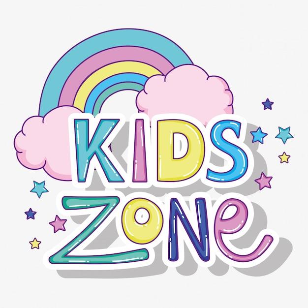 Crianças brincam zona com arco-íris com nuvens Vetor Premium