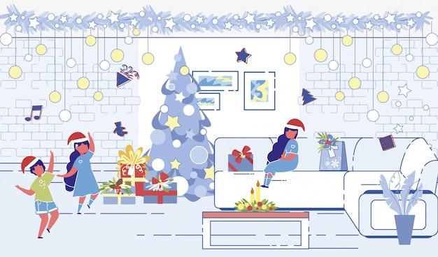 Crianças brincando árvore de natal decorada Vetor Premium