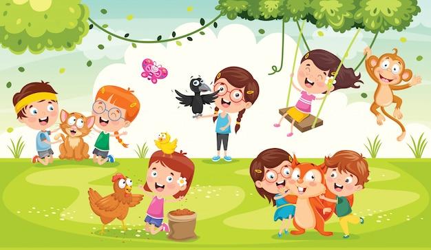 Crianças brincando com animais engraçados Vetor Premium