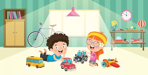 Crianças brincando com brinquedos de carros de corrida Vetor Premium