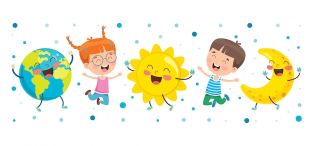Crianças brincando com globo Vetor Premium