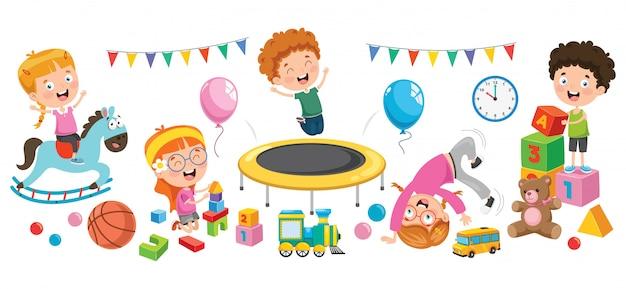 Crianças brincando com vários brinquedos Vetor Premium