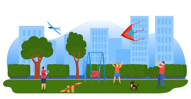Crianças brincando de pipas, ilustração de avião. crianças empinando pipas no parque da cidade. Vetor Premium