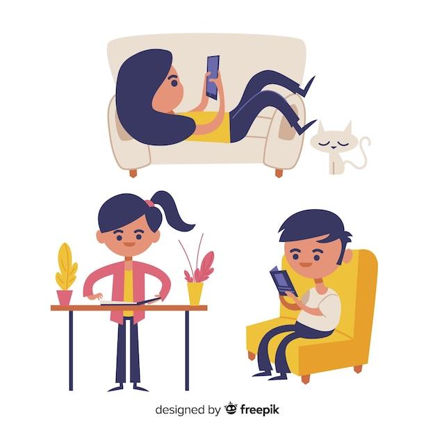 Crianças brincando e fazendo atividades em casa. design de personagem Vetor grátis