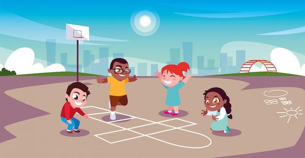 Crianças brincando e praticando esportes no parque da cidade Vetor Premium