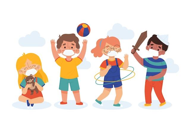Crianças brincando e usando máscaras Vetor grátis