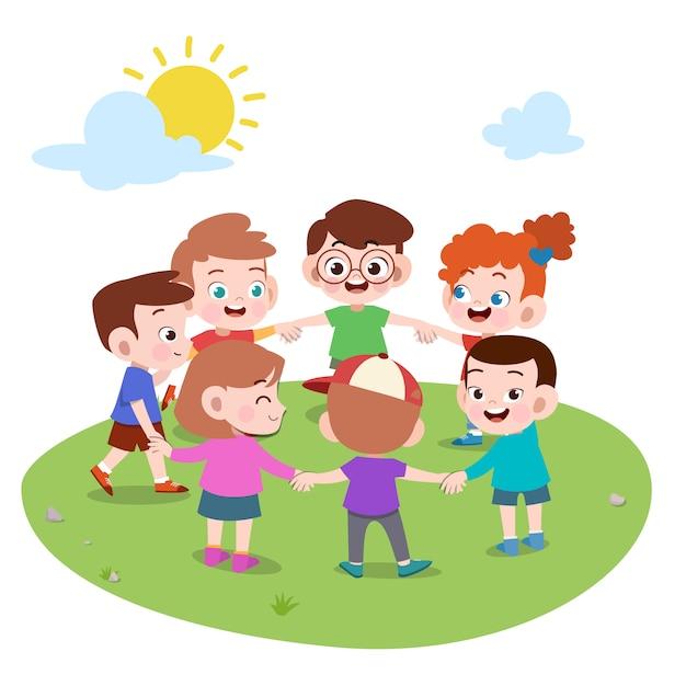Crianças brincando juntos fazem ilustração de círculo Vetor Premium