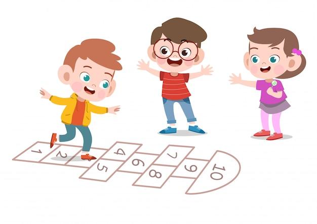 Crianças brincando juntos vector ilustração isolado Vetor Premium