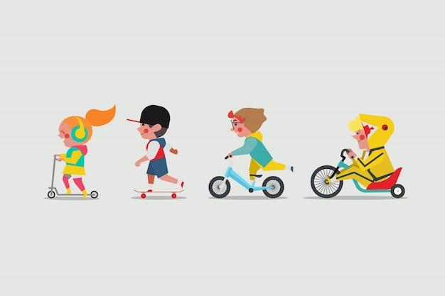 Crianças brincando lá fora. menina jogando scooter. meninos brincando de skate. boy andando bicicleta de equilíbrio e garoto gordo montando uma moto drift trike lowrider Vetor Premium