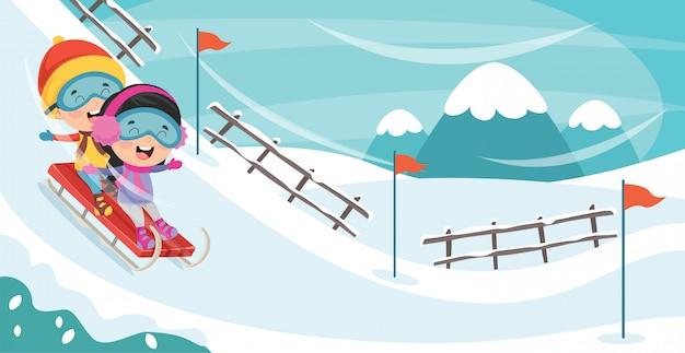 Crianças brincando lá fora no inverno Vetor Premium