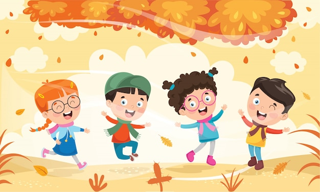 Crianças brincando lá fora no outono Vetor Premium