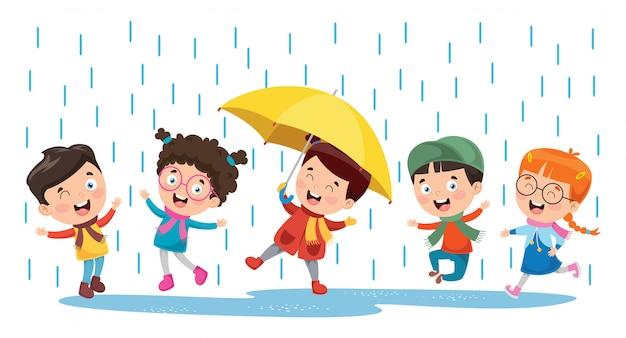 Crianças brincando lá fora sob a chuva Vetor Premium