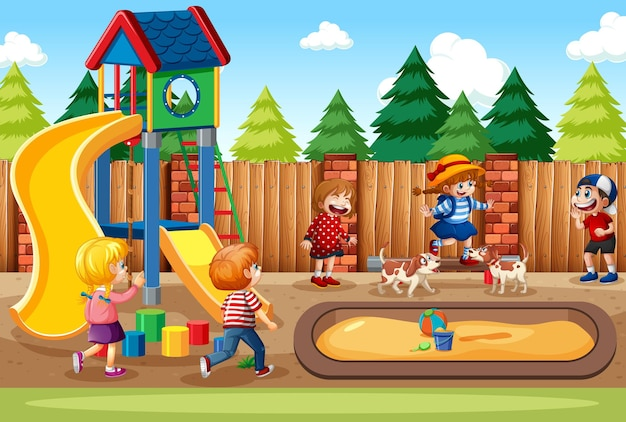 Crianças brincando na cena do parquinho Vetor grátis