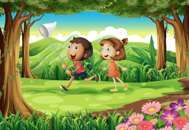 Crianças brincando na floresta Vetor grátis