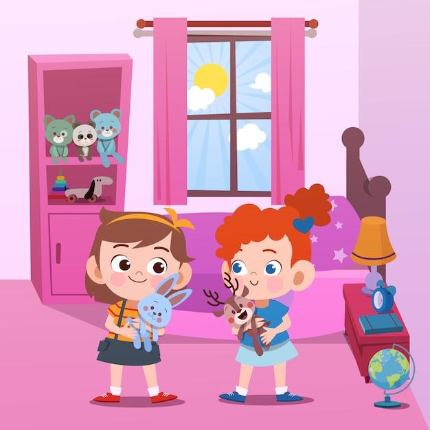 Crianças brincando na ilustração vetorial de quarto Vetor Premium