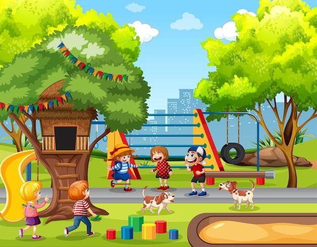 Crianças brincando no cenário do playground Vetor grátis