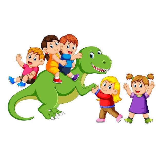 Crianças brincando no corpo do tiranossauro rex e segurando sua mão Vetor Premium