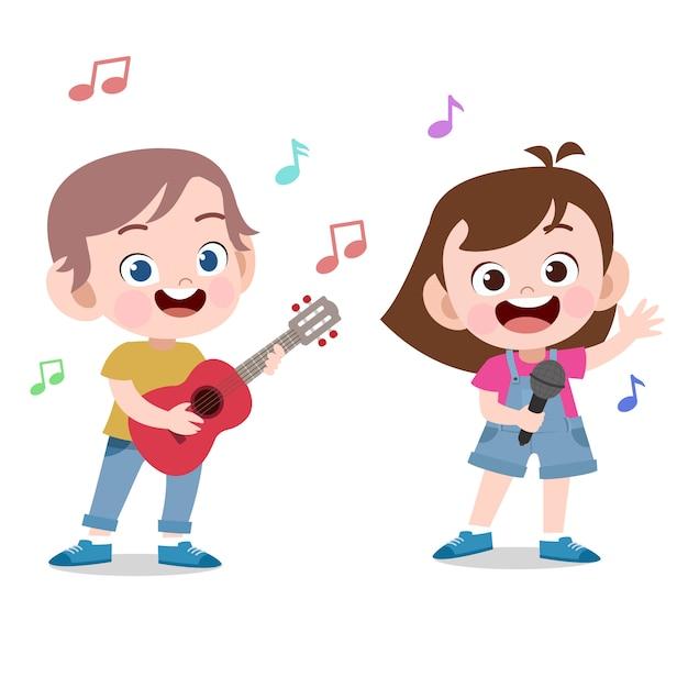 Crianças cantam jogar ilustração vetorial de guitarra Vetor Premium