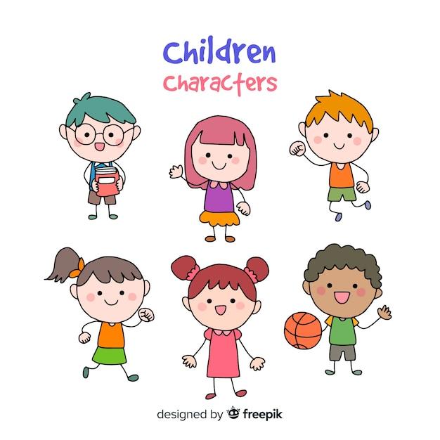 Crianças, caricatura, personagem, cobrança Vetor grátis