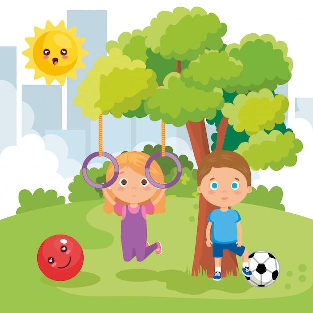 Crianças casal brincando no parque Vetor grátis