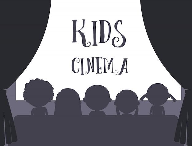 Crianças, cinema, ilustração Vetor Premium