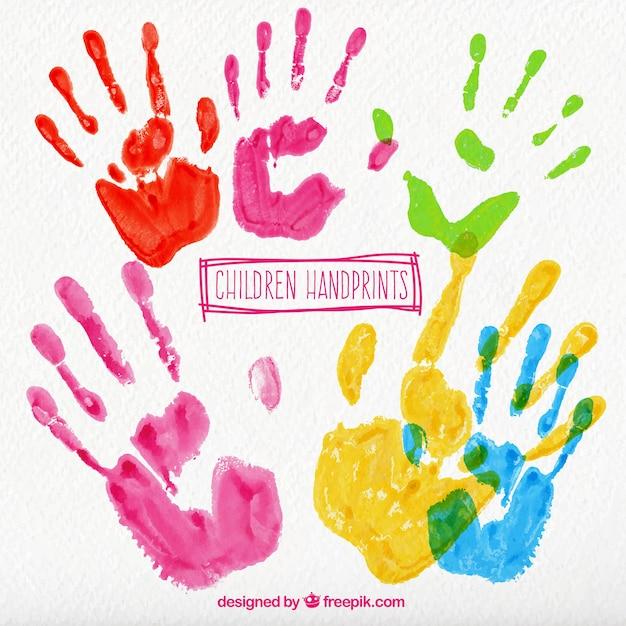 Crianças coloridas handprints Vetor grátis