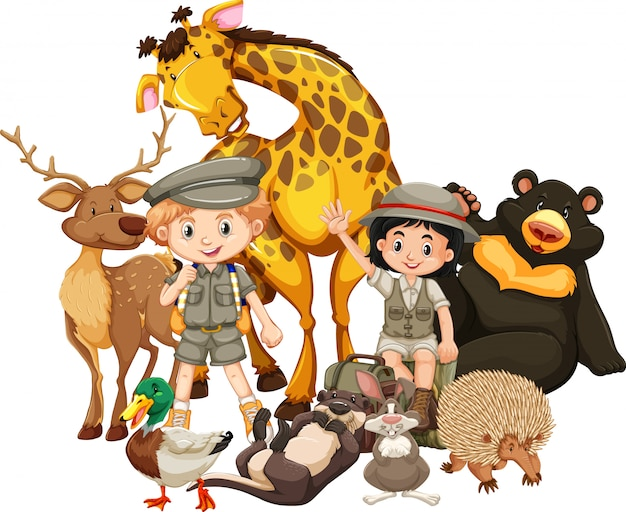 Crianças, com, animais, branco Vetor Premium