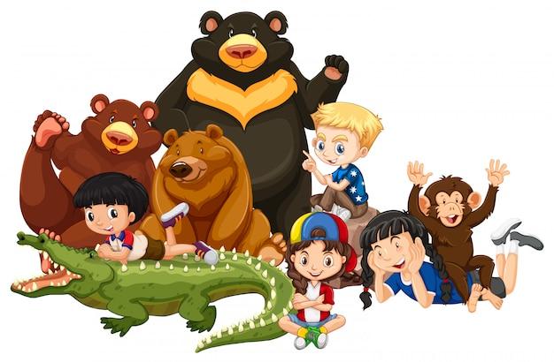 Crianças com animais em fundo isolado Vetor grátis