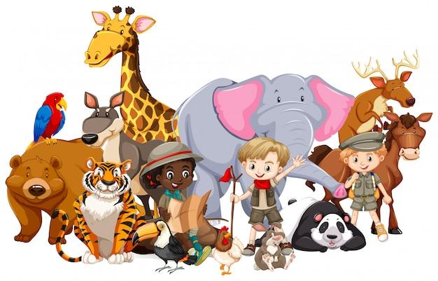 Crianças, com, animais, ligado, isolado Vetor Premium