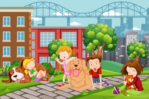 Crianças, com, animal estimação, parque Vetor Premium