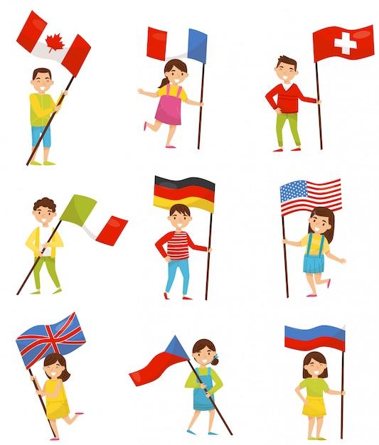 Crianças com bandeiras nacionais de diferentes países, elementos do feriado para o dia da independência, ilustrações do dia da bandeira em um fundo branco Vetor Premium
