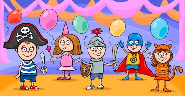 Criancas Com Desenhos Animados De Fantasia Vetor Premium