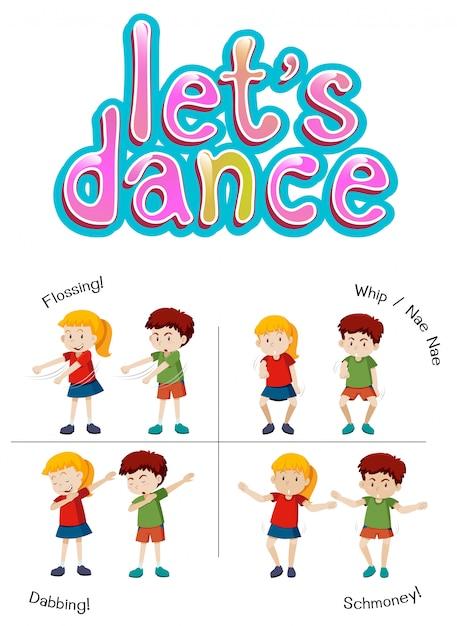 Crianças com diferentes movimentos de dança Vetor grátis