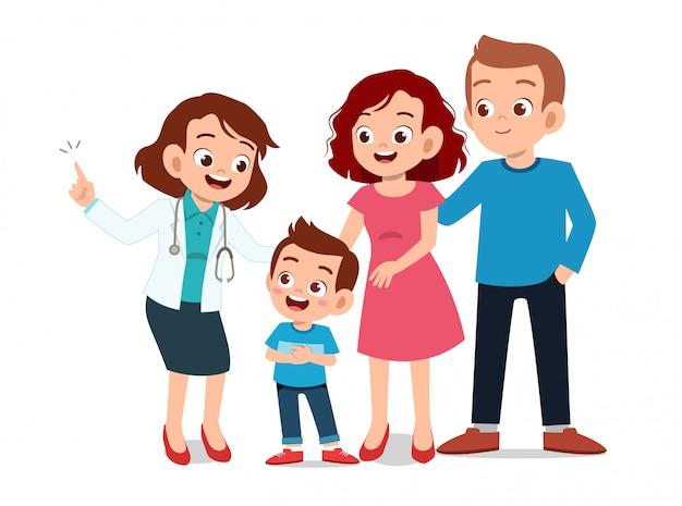 Crianças com exame médico dos pais Vetor Premium