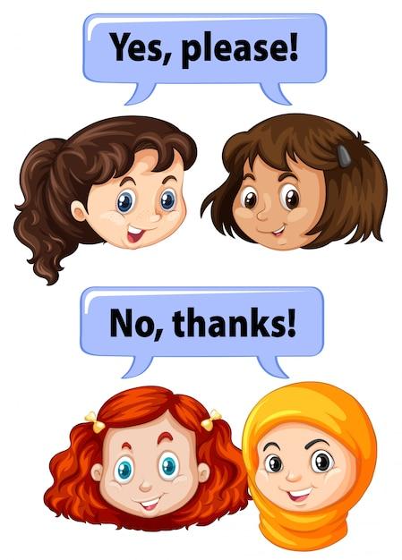 Crianças com expressões de maneira Vetor grátis