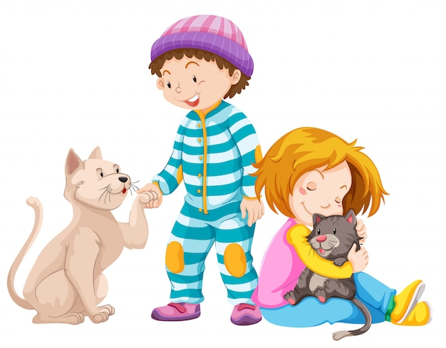 Crianças com gatos de estimação Vetor grátis