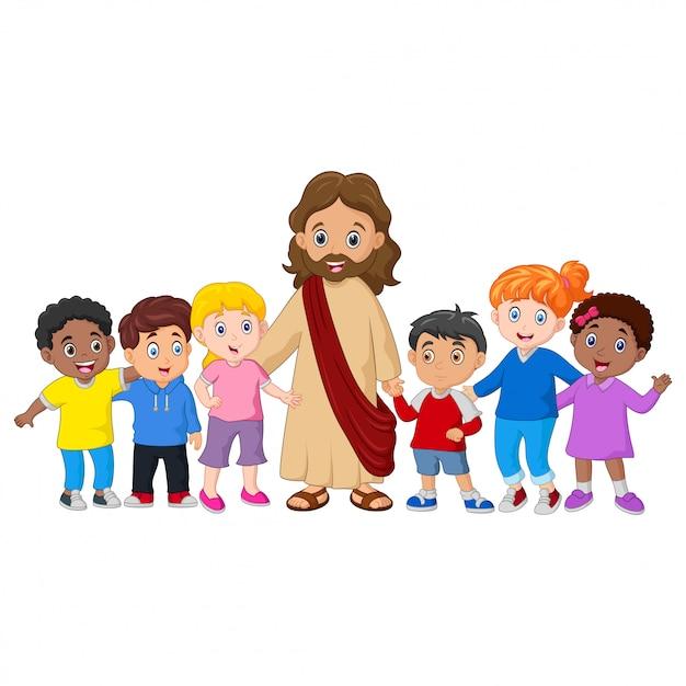 Crianças com jesus cristo Vetor Premium
