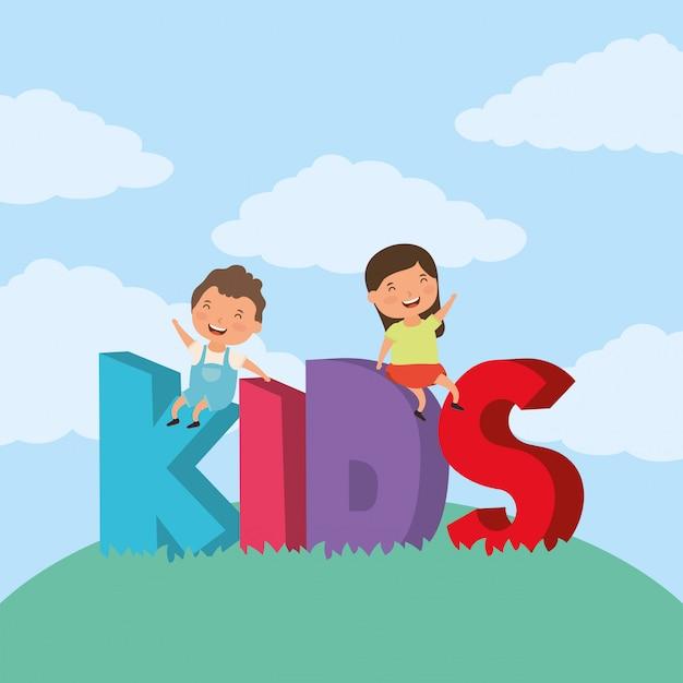 Crianças com letras de zona crianças no campo Vetor Premium