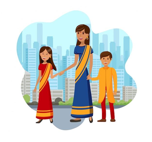 Crianças, com, mãe, de, índia, cor, ilustração Vetor Premium