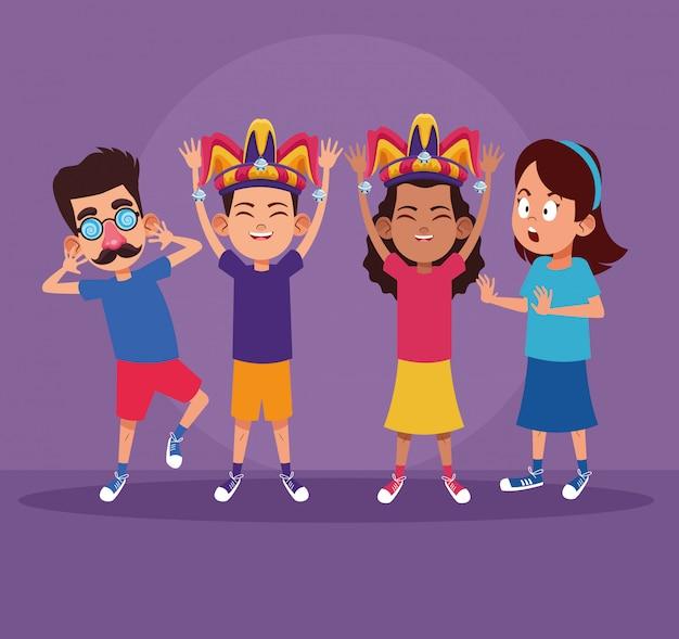 Crianças, com, piadas, desenhos animados Vetor Premium