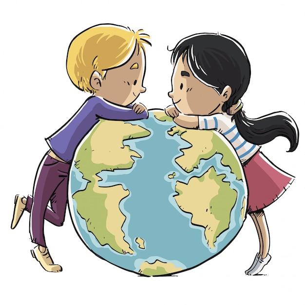 Crianças, com, planeta, terra Vetor Premium