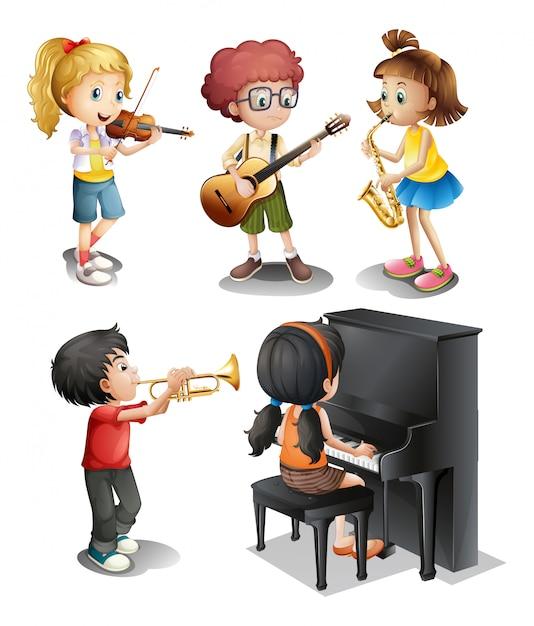 Crianças com talentos musicais Vetor grátis
