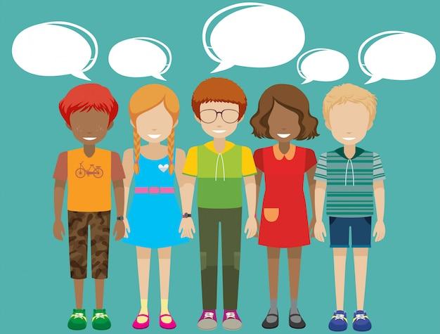 Crianças com textos explicativos vazios Vetor grátis