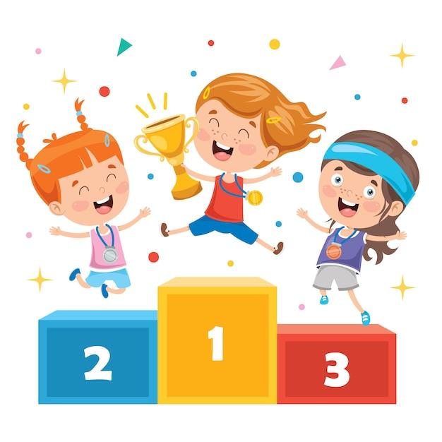 Crianças comemorando a vitória no campeonato Vetor Premium