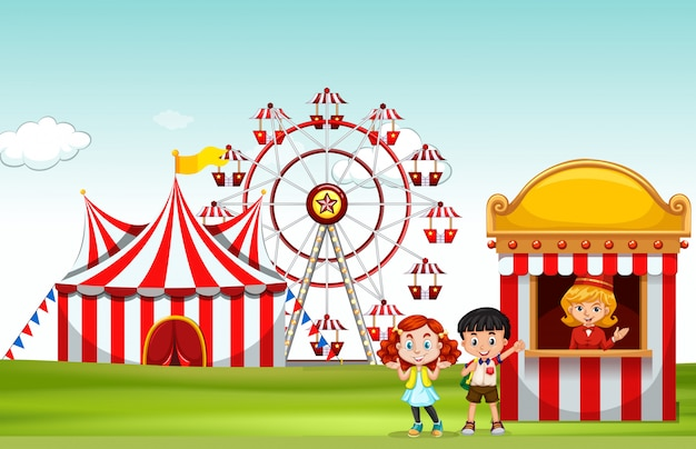 Crianças comprando bilhete no divertido parque Vetor grátis