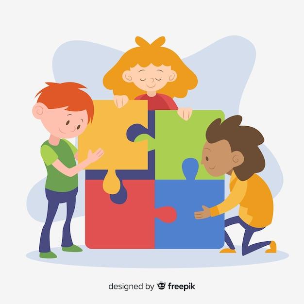 Crianças, conectando o fundo de peças de quebra-cabeça Vetor grátis