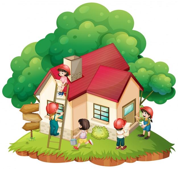 Crianças, construindo, pequeno, casa Vetor grátis