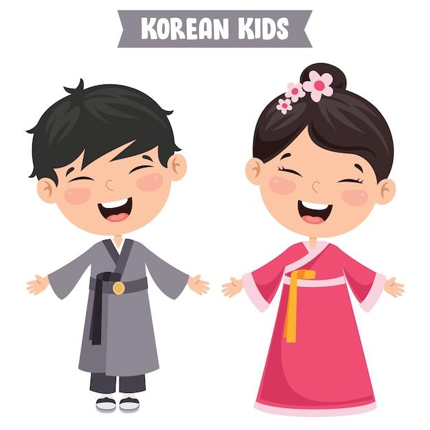 Crianças coreanas vestindo roupas tradicionais Vetor Premium